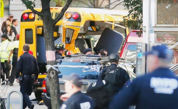 photo of NYC crime scene where a suspect believed affiliated with ISIS crashed into school bus near Stuyvesant High School
