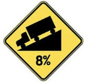 Highway sign showing truck downhill on 8 degree grade