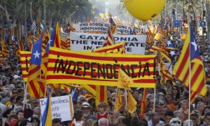 Catalonians marching in support of independence.