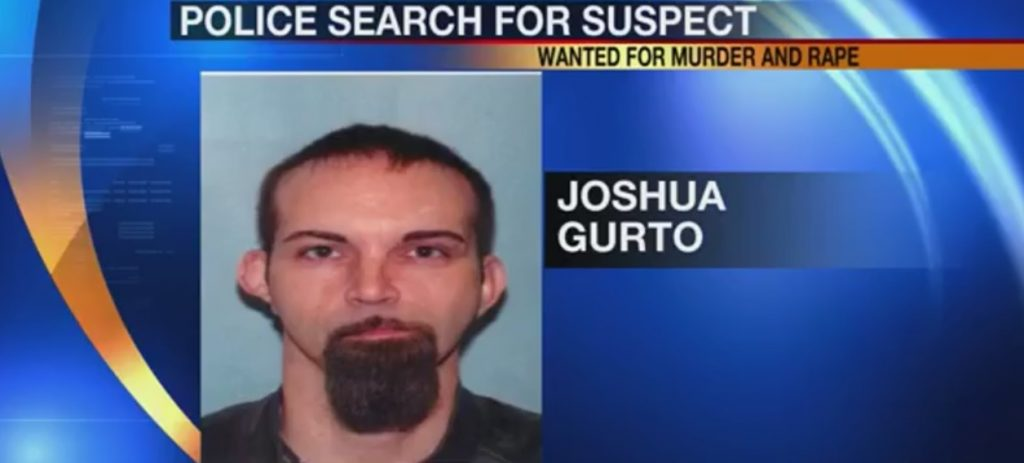 police photo of Joshua Gurto, subject of national manhunt in the murder of 13 month old Sereniti Sutley in Conneaut, Ohio