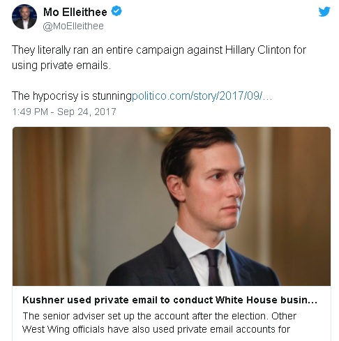 Tweet criticizing Trump son-in-law Jared Kushner's use of private email acct for official executive branch business
