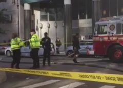video still view of crime scene and first responder NYFD and traffic control