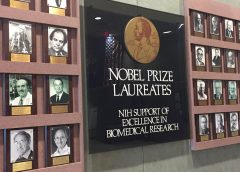 Exhibit with portraits and names of past and present Nobel Prize winners in the biological sciences
