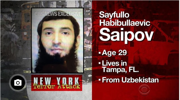 picture and description of suspect of terror incident, Sayfullo Saipov, immigrant from Uzbekistan