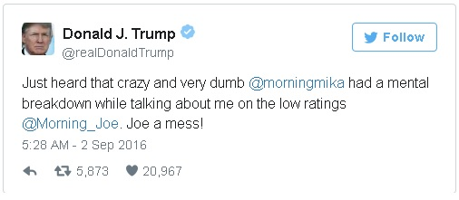 "Trump's tweet attacking Mika Brzezinski of MSNBC's ""Morning Joe"" news talk show"