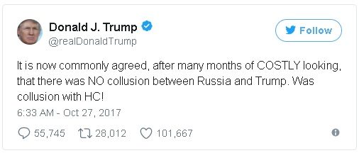 tweet from Donald Trump asserting that Special Counsel Robert Mueller's investigation has essentially produced nothing and that the focus should instead be on Hillary Clinton