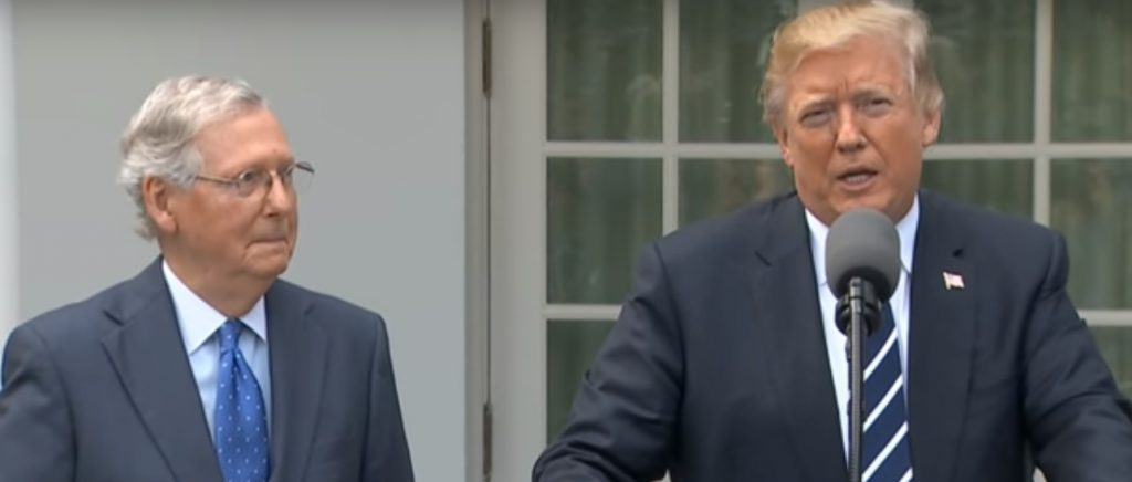 video still of President Trump and Senate Majority Leader Mitch McConnell at Rose Garden press briefing