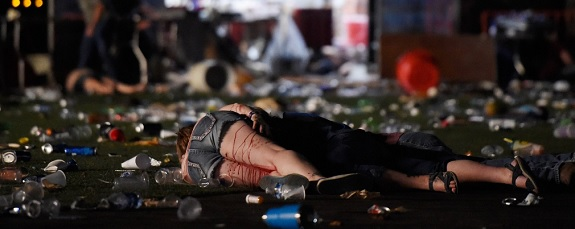 photo of shooting victims lying on the ground at the scene of the mass shooting at Mandalay Bay Hotel in Las Vegas