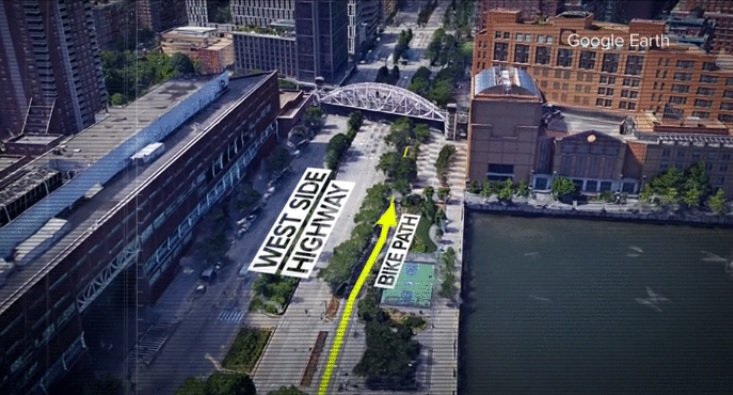 photo and diagram of Westside Highway and bike path where several of the suspect's victims were mowed down by the rental truck