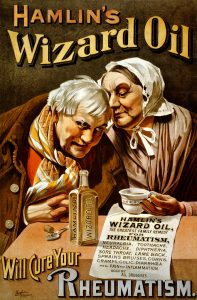 "poster depicting ""Hamlin's Wizard Oil"""