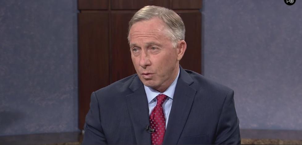 video screenshot of Mesa Mayor John Giles in PBS interview