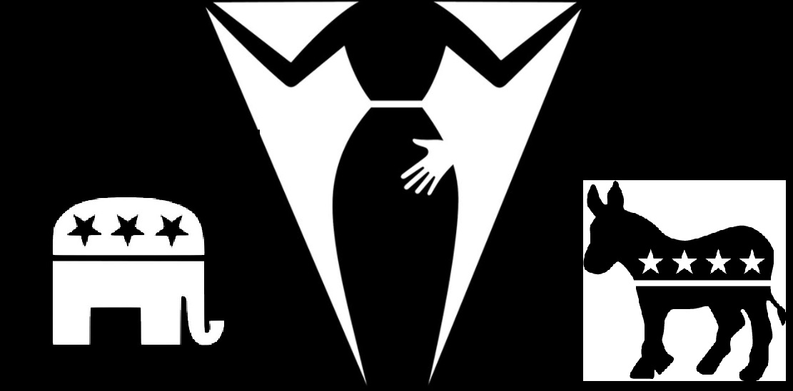 Black and White image appearing to be a man's suit and tie, but on closer examination depicts a woman being sexually harassed with a man's hand on her posterior. GOP logo left corner - Democrat logo right corner.