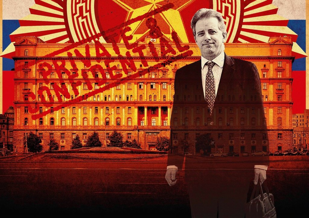 "artwork depicting theme of the ""Steele Dossier"" with an image of the Russian government complex known as the 'Kremlin' in the background and a photo of former MI6 agent, Christopher Steele in forefront."