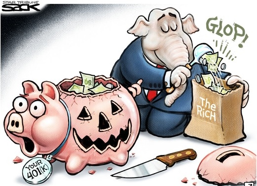 Cartoon by Steve Sack of Chicago Tribune showing GOP elephant taking trick or treat tax savings from the middle class and bagging up the goodies ($$) for the rich