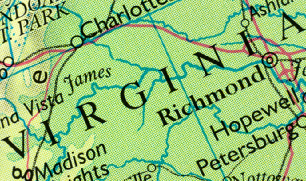 blow up image of map of state of Virginia