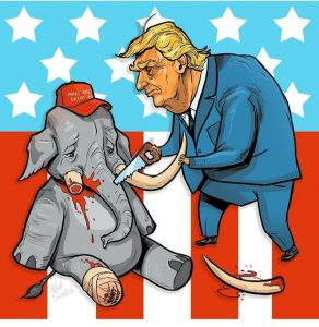 Trump cuts off tusks of elephant