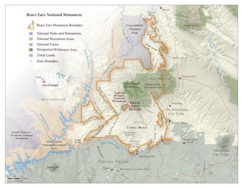 map depicting the footprint of the Bears Ears National Monument lands in Utah