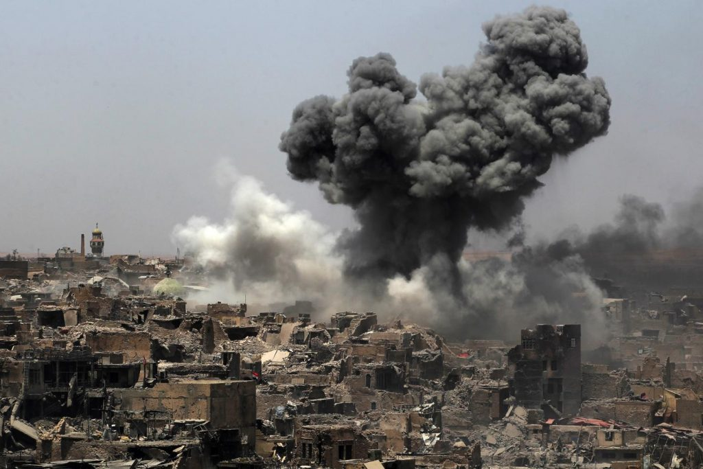 photo of U.S. coalition strikes against Islamic State positions in Mosul, Iraq