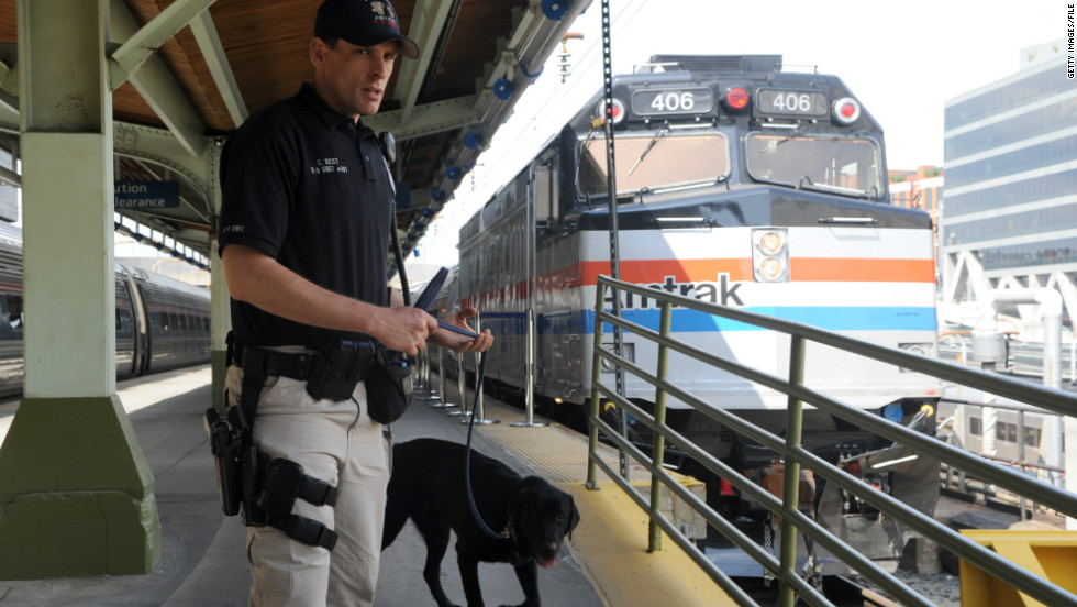 image of Visible Intermodal Prevention and Response (VIPR) officer patrolling Amtrak platform with K-9 assistant (Black Labrador)