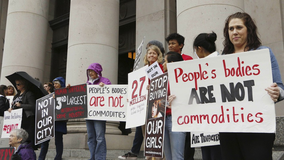 photo of anti-prostitution protest on steps of California State Capitol in Sacramento