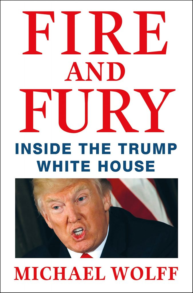"photo of book cover of Michael Wolff's soon to be released book on the Trump presidency, ""Fire and Fury"""