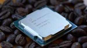 "photo of Intel's Core i7-8700K ""Coffee Lake"" CPU"