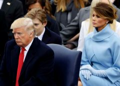 photo of Melania Trump sitting behind her husband during the inauguration