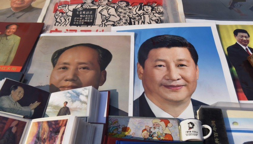 collage of photos and images suggesting an equation of the presidency of China's Xi Jinping and former dictator Mao Tse Tung