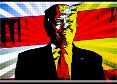 Trump image rendered in pop art styles with red and yellow tones dominating