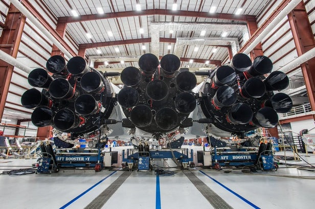 Space X photo of Falcon Heavy's array of rocket booster engines