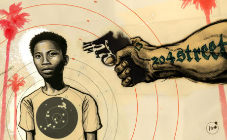 artwork by Justin Renteria depicting a young neighborhood child targeted by gang member with gun pointed at him and a bullseye target on his shirt