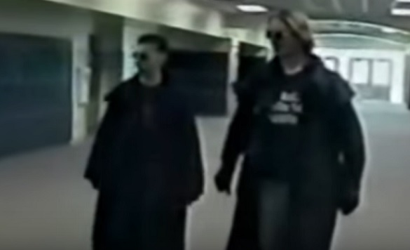 "video still of Columbine High School shooters Eric Harris and Dylan Klebold's video project ""Hitmen For Hire"""