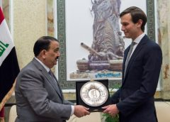 Jared Kushner, Senior Advisor to President Donald J. Trump, receives a gift from Iraqi Minister of Defense Erfan al-Hiyali at the Ministry of Defense in Baghdad, Iraq, April 3, 2017. (DoD Photo by Navy Petty Officer 2nd Class Dominique A. Pineiro)