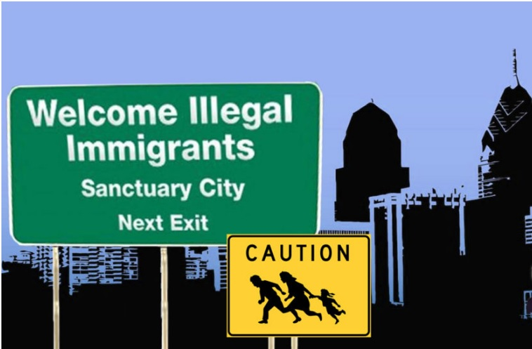"image of highway signs saying ""Welcome Illegal Immigrants, Sanctuary City"" and downtown silhouette backdrop"