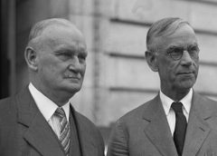 photo of Senator Smoot and Congressman Hawley, authors of the Smoot-Hawley trade tariff of the 1920s that many economists consider a major contributing factor to the onset of the Great Depression in America and internationally