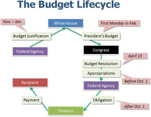 diagram illustrating the lifecycle of a budget moving through Congress