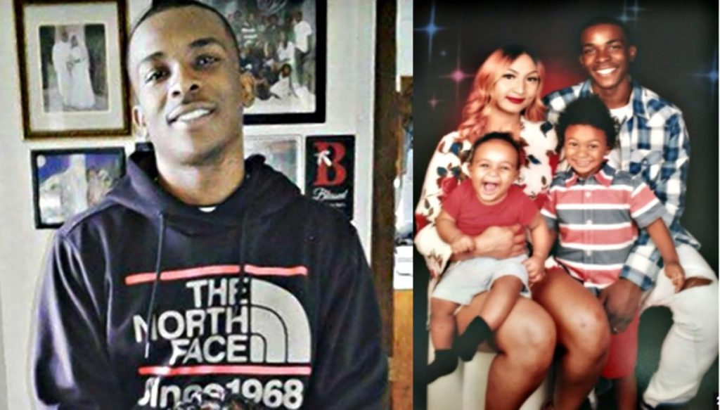photo montage of Stephon Clark and his family, unarmed victim of 20 rounds of bullets in a Sacramento police shooting, including 6 shots in the back