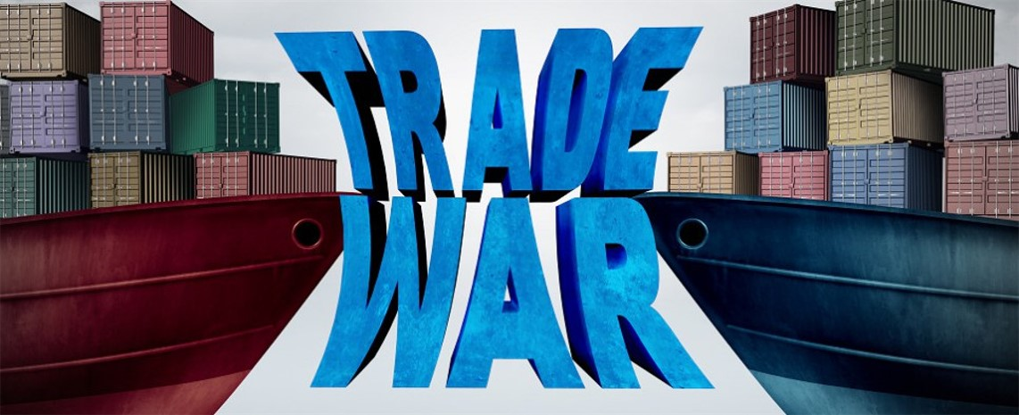 "Illustration of ocean cargo and the words, ""Trade War"""