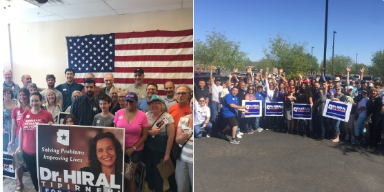 montage of photos of campaign staffers for Democrat candidate Dr. Hiral Tipernini