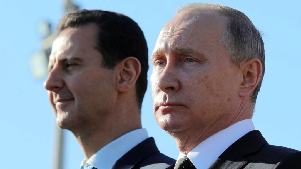Photo of Bashar Assad and Vladimir Putin. Syrian President Bashar Al-Assad and Russian President Vladimir Putin are close allies in the region. Russian forces stemmed the tide in favor of Mr. Assad just as rebels were gaining the upper hand.