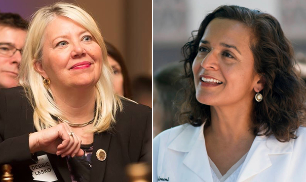 photo montage of candidates for special congressional election in Arizona' CD-8 - Debbie Lesko (at left) and Dr. Hiral Tipernini (at right)