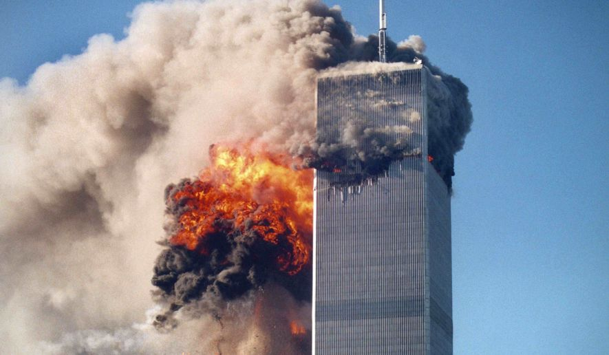Explosions at the World Trade Center on 9/11.