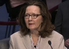 screenshot of video from Gina Haspel - Trump's nominee for CIA Director, during her Senate testimony