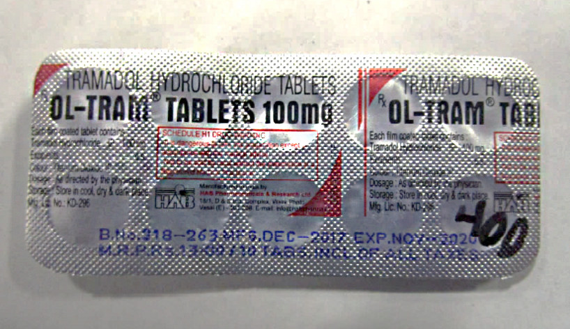 photo of packaging of 100mg Tramodol tablets