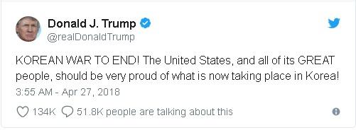 Trump tweet predicting success with North Korea in upcoming meetings