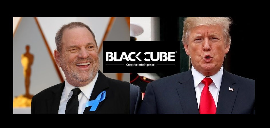 photo montage with Donald Trump, Harvey Weinstein and inserted the Black Cube corporate logo