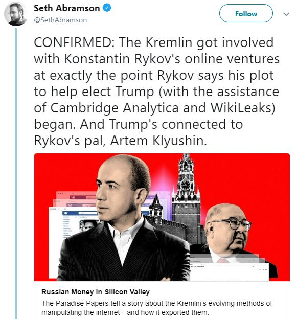 tweet from Seth Abramson about Konstantin Rykov and Kremlin tampering with the American 2016 presidential election