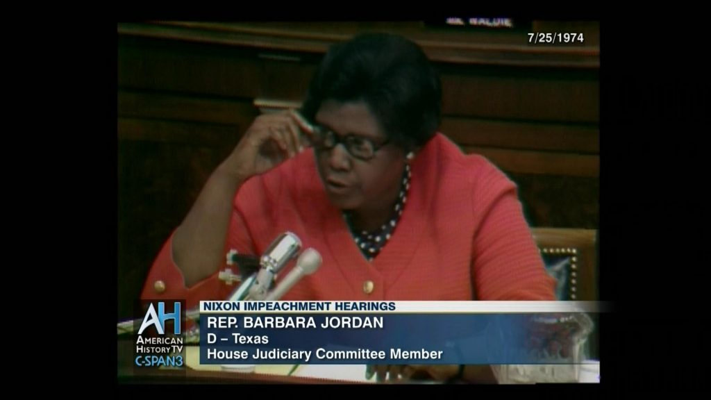 screen capture of C-Span coverage of House Member Barbara Jordan's speech during impeachment proceedings of Richard M. Nixon