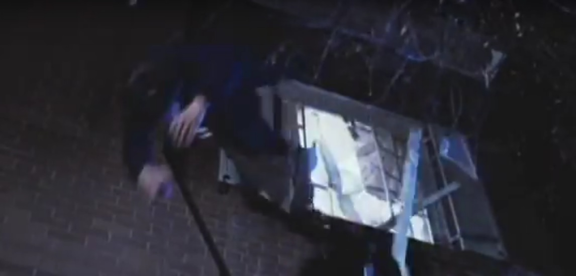video still of man falling from window in the movie The Exorcist