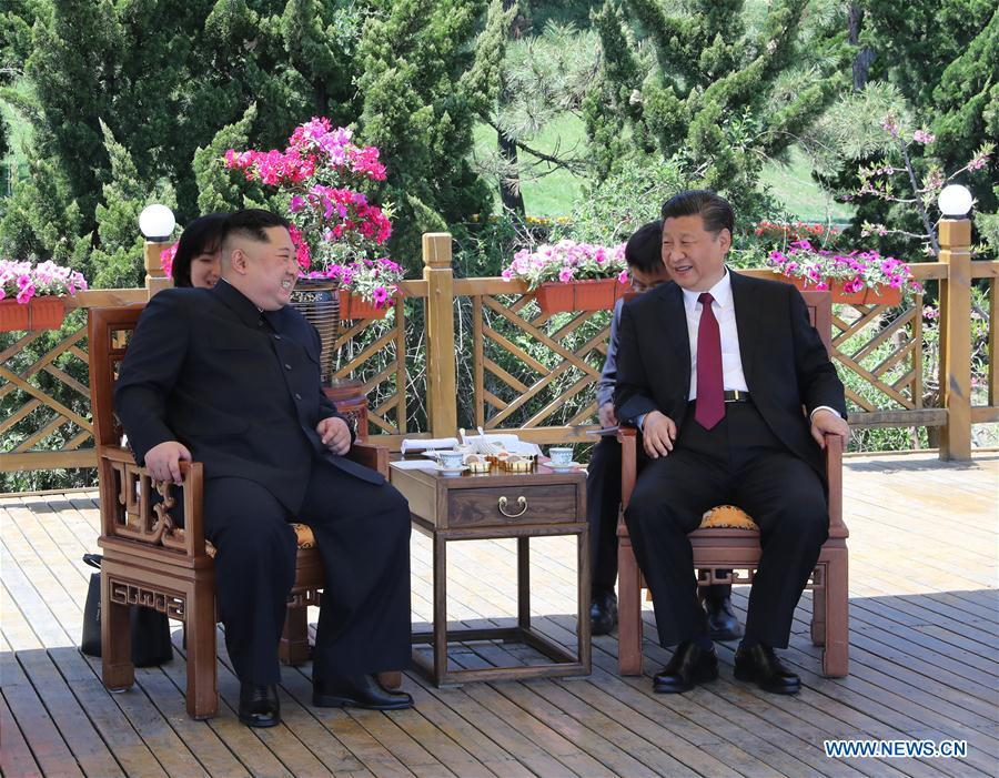 North Korean dictator Kim Jong-un and Chinese autocrat, Xi Jinping at recent 2nd meeting on May 8, 2018